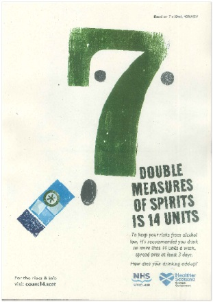 Large image for 7 double measures of spirits is 14 units - A3 poster