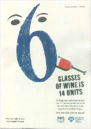 Large image for 6 glasses of wine is 14 units - A3 poster